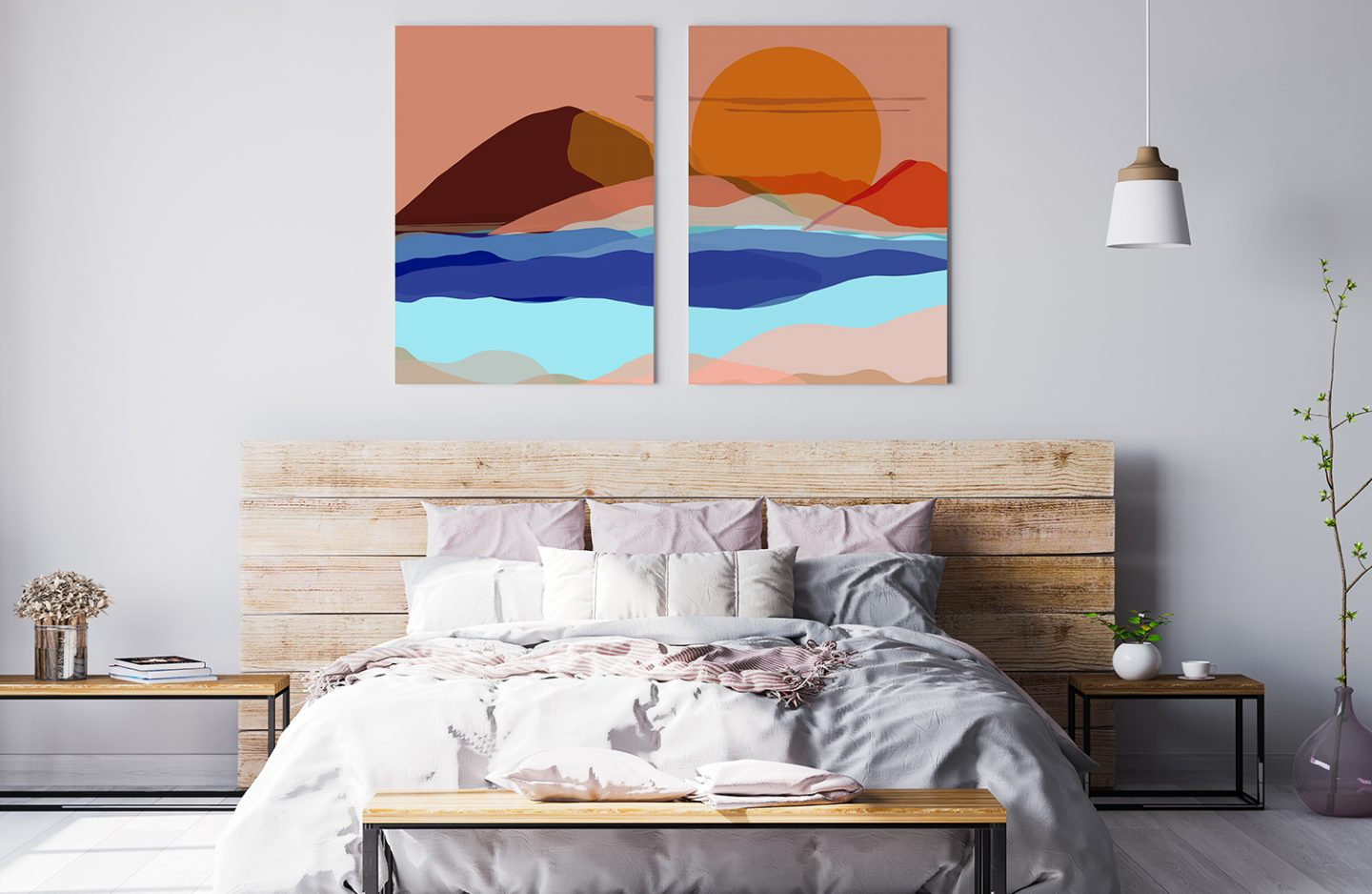 Bright and colourful metal prints displayed above a bed