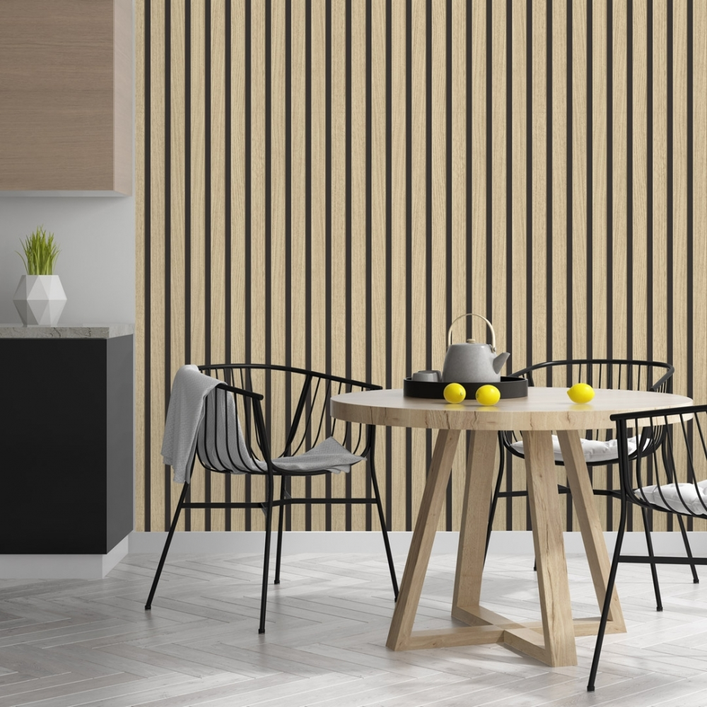 Light oak wood effect panel wallpaper in a kitchen diner with oak table and black wire chairs